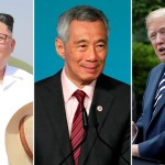 From left: North Korean leader Kim Jong Un, Singapore's Prime Minister Lee Hsien Loong and US President Donald Trump. (Reuters)