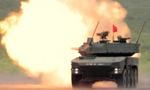 A Japanese mobile combat vehicle opens fire during a military exercise at the foot of Mount Fuji. (Getty Images )