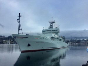 The newly refurbished R/V Thomas G. Thompson heads back to its home dock at the University of Washington School of Oceanography in May 2018 after the research vessel completed an 18-month upgrade to bolster its research capabilities for the Navy and scientific organizations. (Stripes)