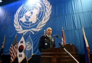 Canadian Lieutenant General Wayne Eyre, deputy commander of the United Nations Command in South Korea, speaks during a news conference before a repatriation ceremony for remains transferred by North Korea, at Osan Air Base in Pyeongtaek, South Korea August 1, 2018. (Reuters)