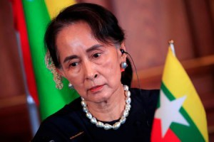 Myanmar's State Counsellor Aung San Suu Kyi attends the joint news conference of the Japan-Mekong Summit Meeting at the Akasaka Palace State Guest House in Tokyo, Japan October 9, 2018. (Reuters)