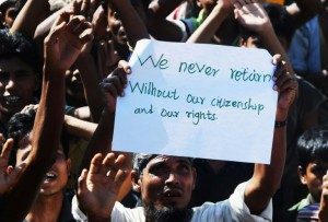 More than 720,000 Rohingya are living in refugee camps in Bangladesh, many of whom fear for their safety if they return to their homes in Myanmar's Rakhine state (AFP)