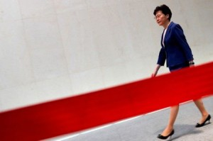 Hong Kong Chief Executive Carrie Lam walks to speaking to media over an extradition bill in Hong Kong (Reuters).