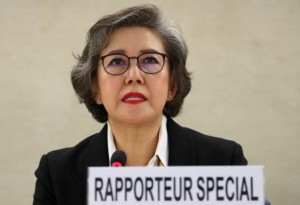 Special Rapporteur on the situation of human rights in Myanmar Lee gives her report in Geneva (Reuters)