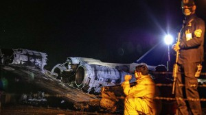 The wreckage of Lion Air Flight RPC 5880 is seen at the runway of Ninoy Aquino International Airport after it crashed in Manila, Philippines on March 29. (Getty/AsiaPac)